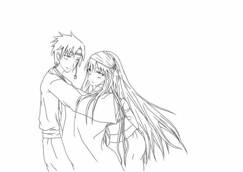 japanese couple. lineart by Daevaluque