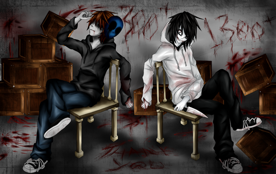 Eyeless Jack and Jeff The Killer (+Thank You!) by Ren-Ravie