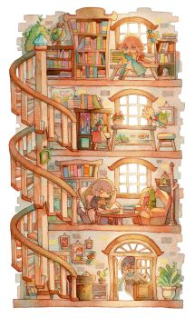Bibriotecia Library by Pearlgraygallery
