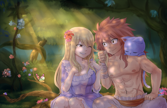 NaLu Tarzan/Caveman AU | Happy B-day Shadoouge! by Karokitten-chan