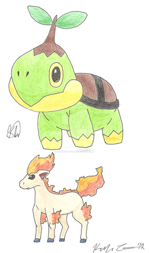 CP: Turtwig and Ponyta by Superkaito