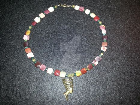 Mookiate and Agate Nefertiti Necklace by TheCraftyMaiden