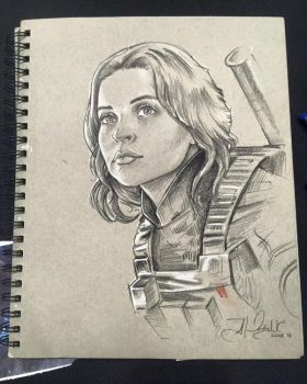 Jyn Erso Sketch from Star Wars Celebration Europe by AlexBuechel