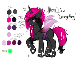 Mixalis the changeling OC ref by MixAlanaPony