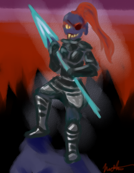 2015-12-18-Undyne Doodle by Mahotou
