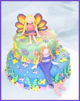Faerie and Mermaid Cake by theshaggyturtle