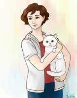 She is holding a cat by Syudzius-san