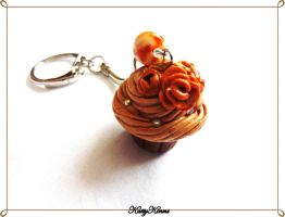 Toffee Cupcake Keychain by Cateaclysmic
