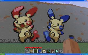 Plusle And Minun On Minecraft by Miccopicco