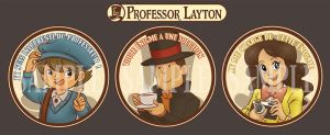 Professor Layton Buttons Set by MymyArtzone