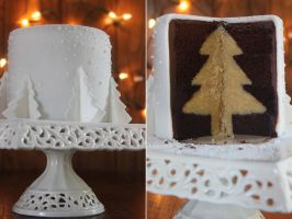 White Christmas Tree Cake by cakecrumbs