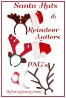 Santa Hats and Reindeer Antlers PNG's by ibjennyjenny