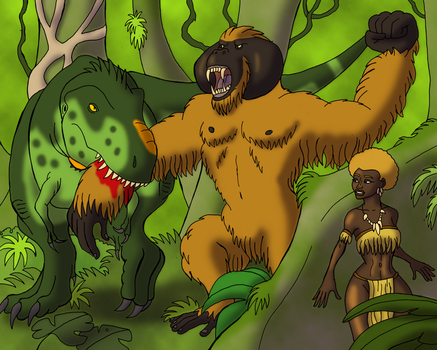 Kong Battles for the Golden Woman by DaBrandonSphere