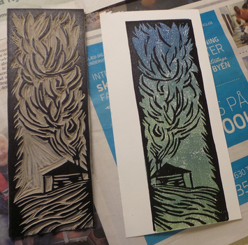 Bookmark done in linocut by Silenna86