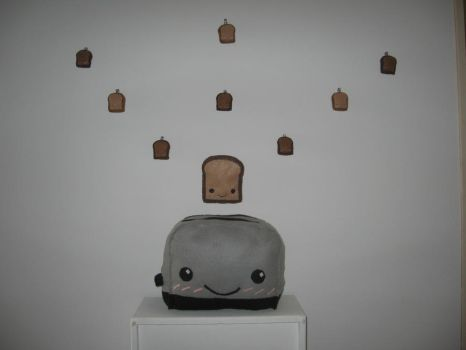 Toaster with toast inside install by cornmomiji
