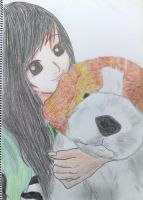me and my fluffy huge dog toy by kimitos-drawing