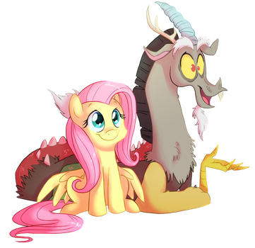 Discord and Fluttershy Colored by FillyBlue