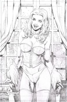 Emma Frost - pencil commission by aethibert