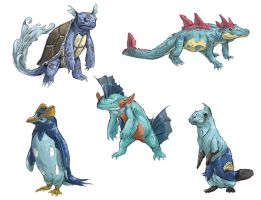 Realistic Pokemon Sketches: Water 2nd Evolutions