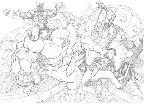 Juggernaut VS Spidey and Wolverine by mikebowden