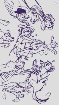 Seven dogs, one cat, and some weirdos i think by MarieManiacMagic