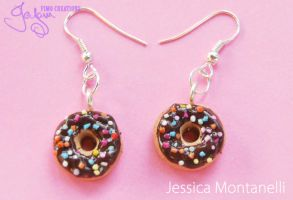 Chocolate Donuts Earrings by Jeyam-PClay