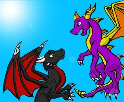 Spyro and Cynder -Myklor- by ThunderEdge