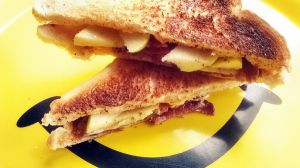 grilled cheese bacon and green apple sandwich by L-A-Addams-Art