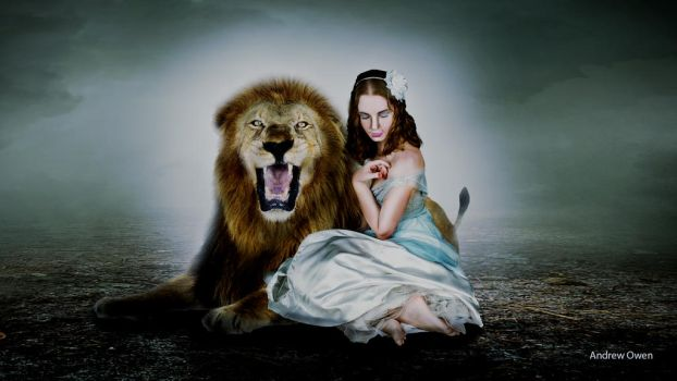 Girl Leaning On A Lion by toosox