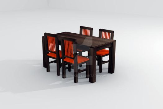 Table and chairs in 3D by messtwice