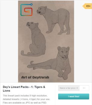 Lineart Pack 1 Tigers and Lions on Gumroad by DeyVarah
