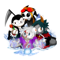 Dracula, Haunter, Alpha and Scares by ShadowtailsDerol