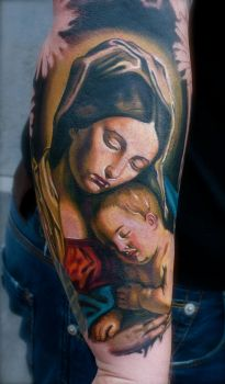 mary and baby daylight by tattooneos