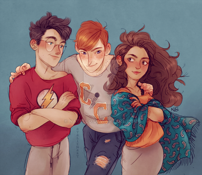 Harry, Hermione, Ron by Natello