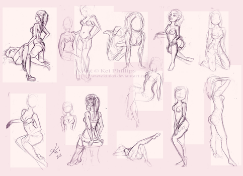 Life drawing sketches by kinkei