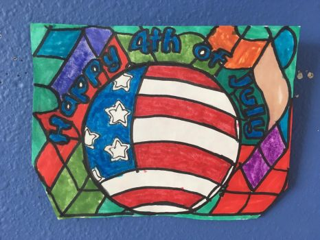 Happy 4th Of July Art Colorful Design Drawing  by NWeezyBlueStars23