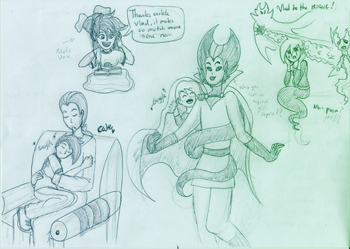 Danny Phantom doodles, oh look nice vlad. by Jeanette9a
