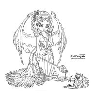 Water fairy lineart by jadedragonne on deviantart for Water fairy coloring pages