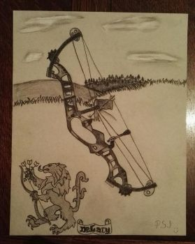 Charcoal drawing - Compound bow by PurpleSallyJay